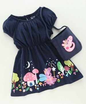 Babyhug Puff Sleeves Frock With Sling Bag Peppa Pig Embroidery - Navy Blue