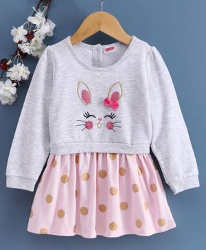 Babyhug Full Sleeves Frock Bunny Embroidered - Pink