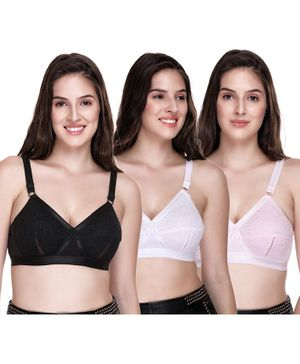 Sona Pack Of 3 Plus Size Cotton Full Coverage Non Wired Non Padded Bra - Multi Color