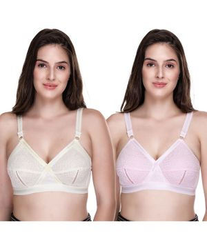Sona Women's Delicate Super Everyday Plus Size Full Coverage Non Wired & Non Padded Pack Of Two Bra - White Light Pink