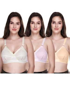 Sona Everyday Plus Size Full Coverage Non Wired & Non Padded Pack Of Three Maternity Bra - White Pink Yellow