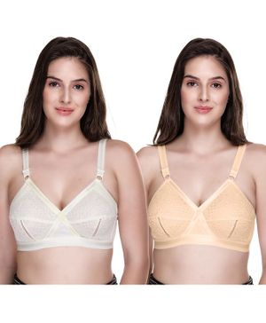 Sona Plus Size Full Coverage Non Wired & Non Padded Pack Of Two Bra - White Yellow