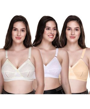 Sona Plus Size Full Coverage Non Wired & Non Padded Pack Of Three Bra - White Off White Yellow