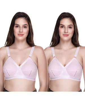 Sona Pack Of Two Plus Size Full Coverage Non Wired & Non Padded Bra - Pink