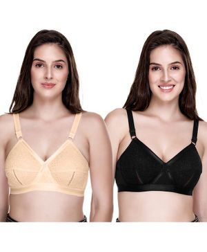 Sona Solid Full Coverage Non Wired Non Padded Pack Of 2 Bra - Multi Color