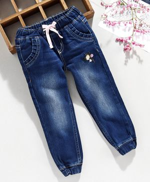Babyhug Full Length Jeans Flower Embroidery - Blue
