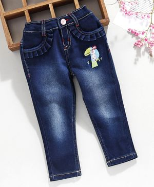 Babyhug Full Length Jeans Bird Embroidery - Blue
