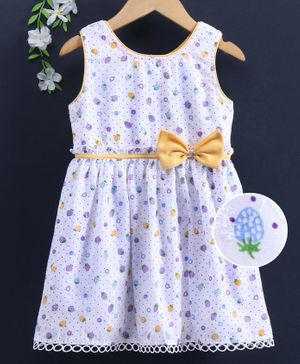 Enfance Core Sleeveless Polka Dot And Fruit Print With Bow Applique Flared Dress - Gold