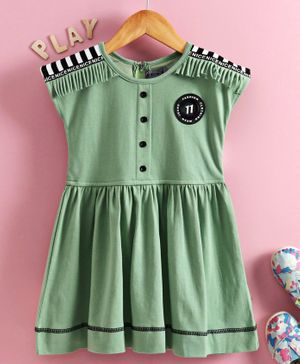 Enfance Cap Sleeves Solid Color Striped On Shoulder Regular Dress - Green