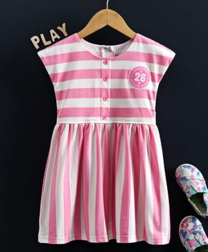 Enfance Cap Sleeves Striped Regular Dress - Pink