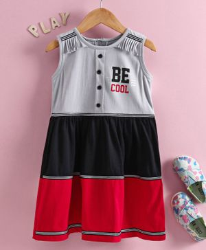 Enfance Sleeveless Be Cool Print Regular Dress - Grey
