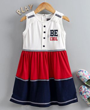 Enfance Sleeveless Be Cool Print Regular Dress - White