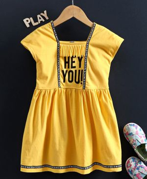 Enfance Cap Sleeves Hey You Printed Regular Dress - Yellow