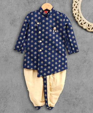 Ethnik's Neu-Ron Printed Full Sleeves Dhoti Kurta Set with Brooch - Blue