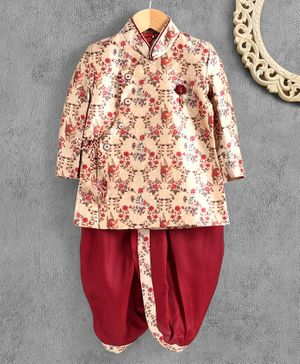 Ethnik's Neu-Ron Printed Full Sleeves Dhoti Kurta Set - Maroon