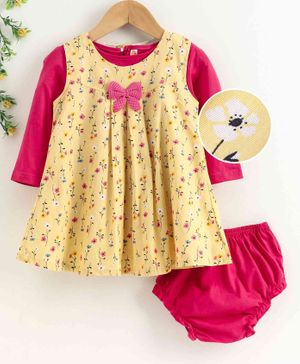 Dew Drops Frock with Inner Tee & Bloomer Floral Print - Pink Yellow