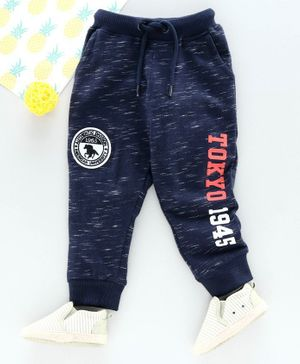 Babyhug Full Length Lounge Pant Text Print - Blue