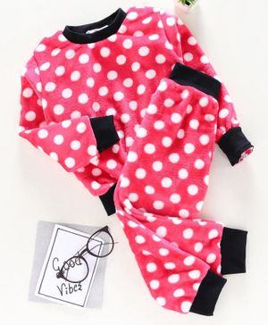 M'andy Polka Dot Print Full Sleeves Track Suit - Red
