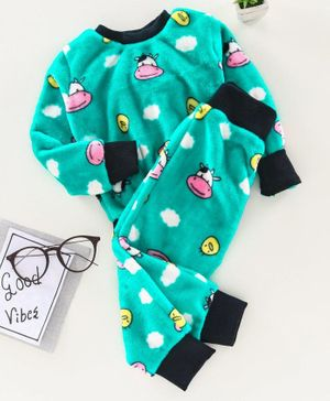 M'andy Cow Face Print Full Sleeves Track Suit - Green