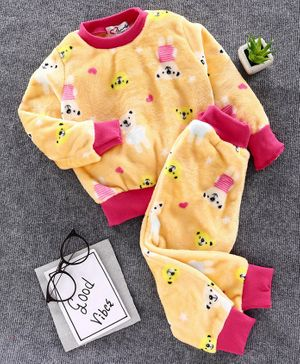 M'andy Bear Print Full Sleeves Tracksuit - Yellow