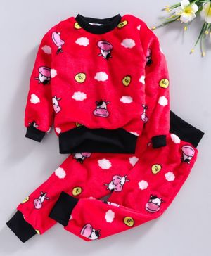 M'Andy Ful Sleeves Cow Face Printed Night Suit - Red