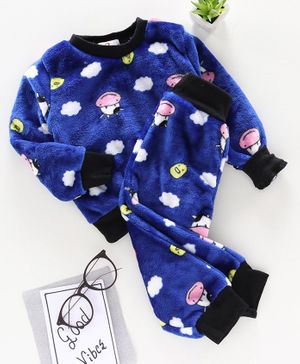 M'andy Cow Face Print Full Sleeves Tracksuit - Blue