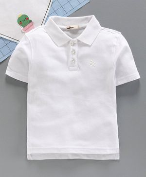 Adams Kids Half Sleeves Solid Color Polo T-shirt - White