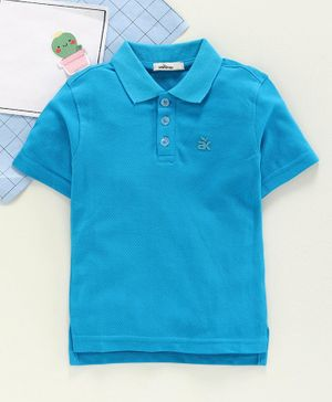 Adams Kids Half Sleeves Solid Color Polo  T-shirt - Sky Blue