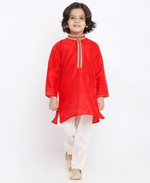 Babyhug Full Sleeves Placket Embroidered Kurta with Pyjama - Red White