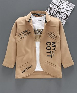 Dapper Dudes Full Sleeves Text Printed Jacket With T-Shirt - Fone