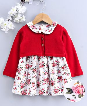 Babyhug Cap Sleeves Frock with Shrug - Red & Cream