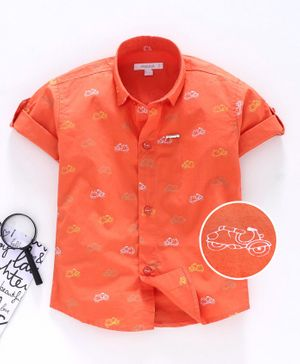 Attack Half Sleeves Shirt Scooter Print - Orange