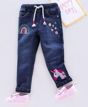 Babyhug Full Length Jeans With Drawstring Unicorn Embroidery - Blue
