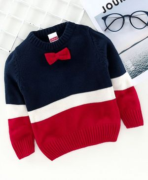 Babyhug Full Sleeves Sweater with Bow - Navy Blue Red