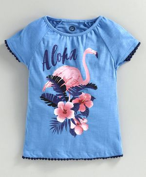 JusCubs Flamingo Short Sleeves Top - Blue