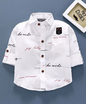 Dapper Dudes Full Sleeves Text Printed Casual Shirt - White