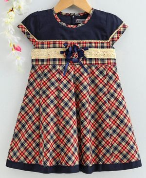 Enfance Cap Sleeves Checkered Box Pleated Dress - Red & Blue