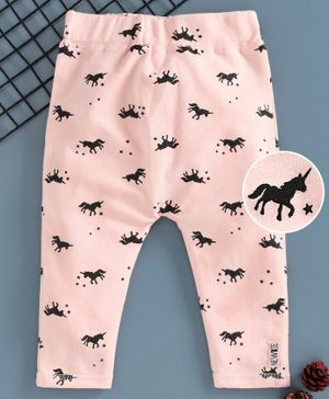 Fox Baby Full Length Jeggings Unicorn Print - Pink