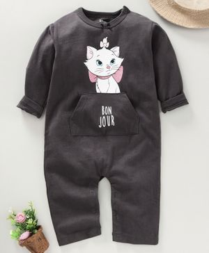 Fox Baby Full Sleeves Romper Kitty Print - Dark Grey