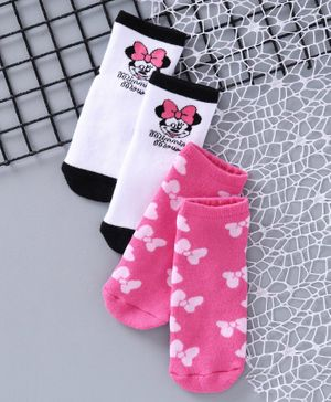 Fox Baby Ankle Length Socks Minnie Mouse Design Pack of 2 - Pink White