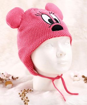 Fox Baby Woolen Cap With Tie Knot Closure Pink -  Diameter 14.5 cm
