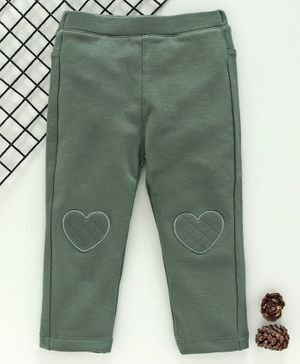 Fox Baby Full Length Solid Leggings - Green
