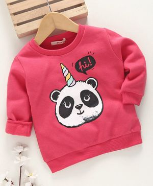 Fox Baby Full Sleeve T Shirt Panda Print - Pink