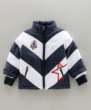 Babyhug Full Sleeves Padded Jacket Rocket Patch - Navy White