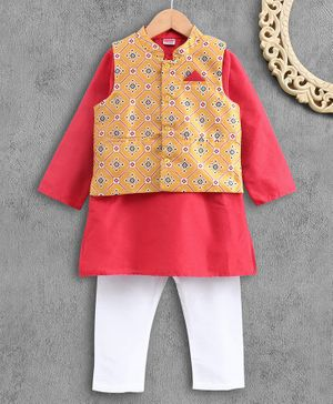 Babyhug Full Sleeves Kurta and Pajama Set with Printed Jacket - Coral Yellow