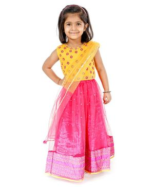 Babyhug Full Length Embroidered Choli Lehenga & Dupatta - Yellow & Fuchsia
