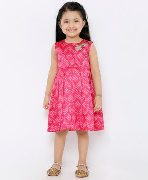 Babyhug Sleeveless Ethnic Brocade Dress - Pink