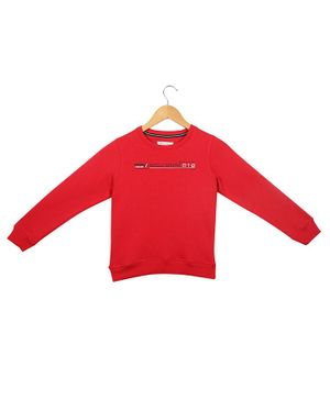 Monte Carlo Full Sleeves Text Print Sweatshirt - Red