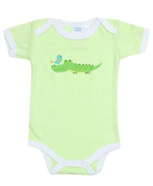 Honey Bunny Green Half Sleeves Onesies - Crocodile Print