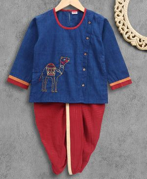 Babyhug Full Sleeves Kurta With Dhoti Camel Embroidered - Blue Maroon